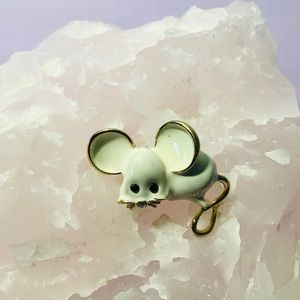 White Mouse Brooch Animal Pin Enamel Crystal Jewellery NWT